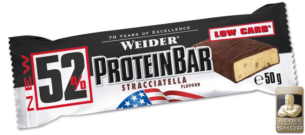 WEIDER 52% Protein Bar 50g Riegel - WEIDER® - Erdnuss-Karamell - 96 Stück = 4 Packungen (à 24 Stück)