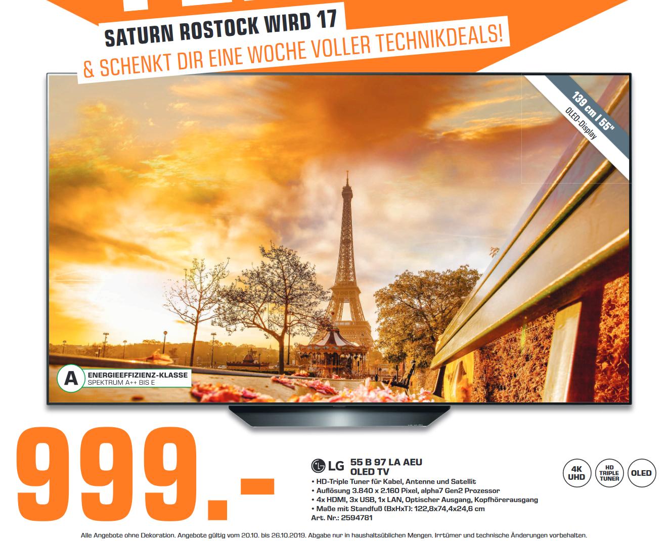 "[lokal: Saturn Rostock] LG OLED55B97LA 55"" 4K Smart OLED TV   Kingston HyperX Cloud II Gaming Headset =59,99€   Legend of Zelda: BoW =45€"
