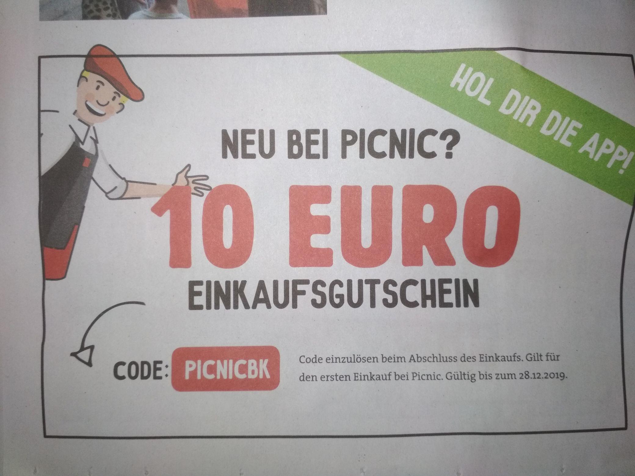 Picnic: 10€ Gutschein für den Einkauf (ausgewählte Gebiete)