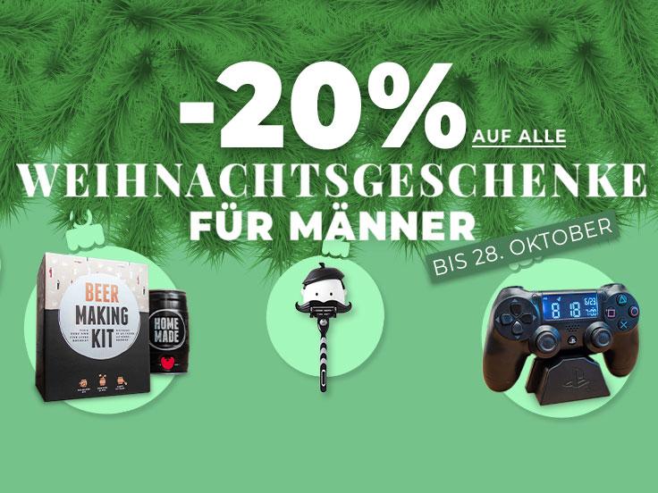 20% auf Weihnachtsgeschenke für eure Männer