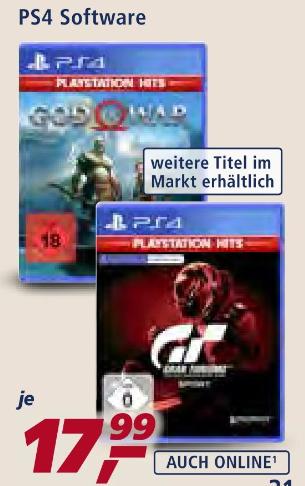 [real: ab 02.11.] God Of War / Gran Turismo: Sport / u.a. PS4 Hits-Titel für je 17,99€ bzw. am 02.11. & 04.11. für 12,59 mit Real F&F