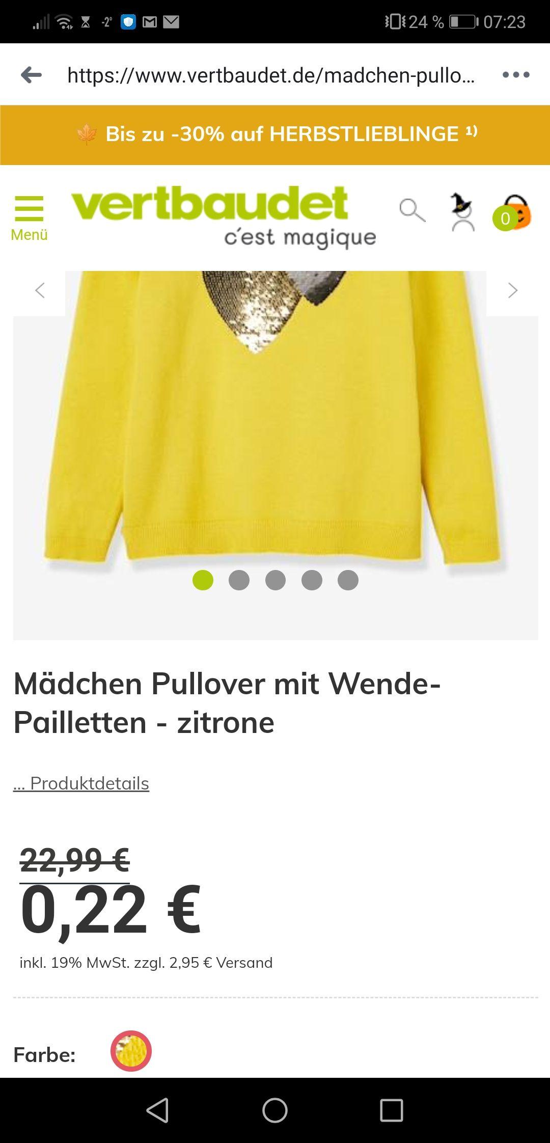 Flash-sale bei Vertbaudet, Kostenloser Versand durch Gutscheincode z.B. Mädchen Pullover mit Wende-Pailletten für 0,22€