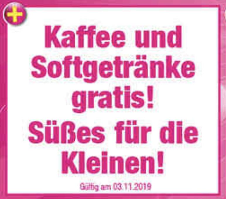 Lokal Lüneburg: Kaffee u. Softgetränke gratis + Süßigkeiten für die Kinder + 20% Gutschein auf einen Artikel - am verkaufsoffenen Sonntag