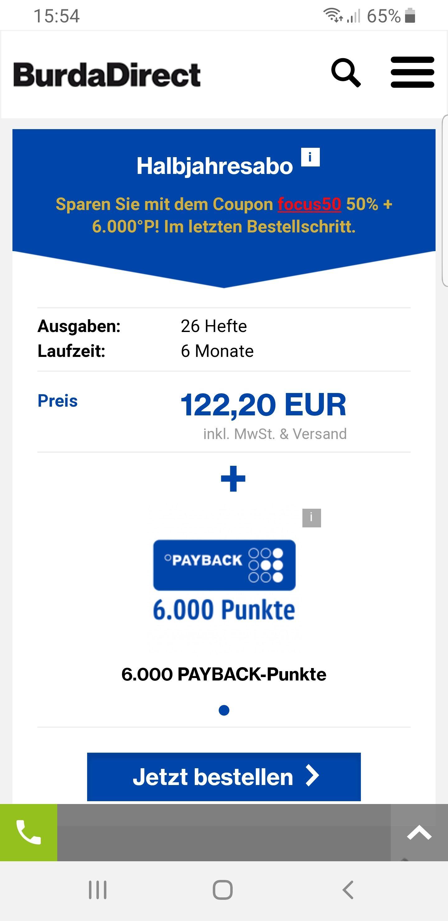 [Payback] focus HalbJahresabbo mit 6000 Payback-Punkten