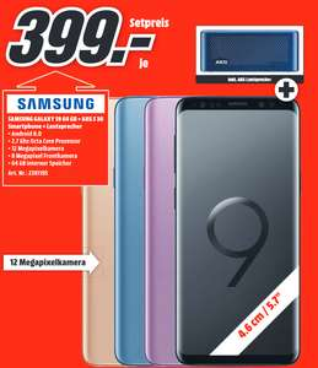 [lokal: Media Markt Stralsund] Samsung Galaxy S9 64GB + AKG S 30 Bluetooth Lautsprecher