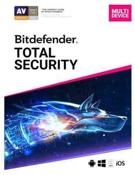 Bitdefender Total Security Multi Device 2020 1 Jahr / 5 Geräte für Multi Plattform (PC, Mac, Android und iOS)