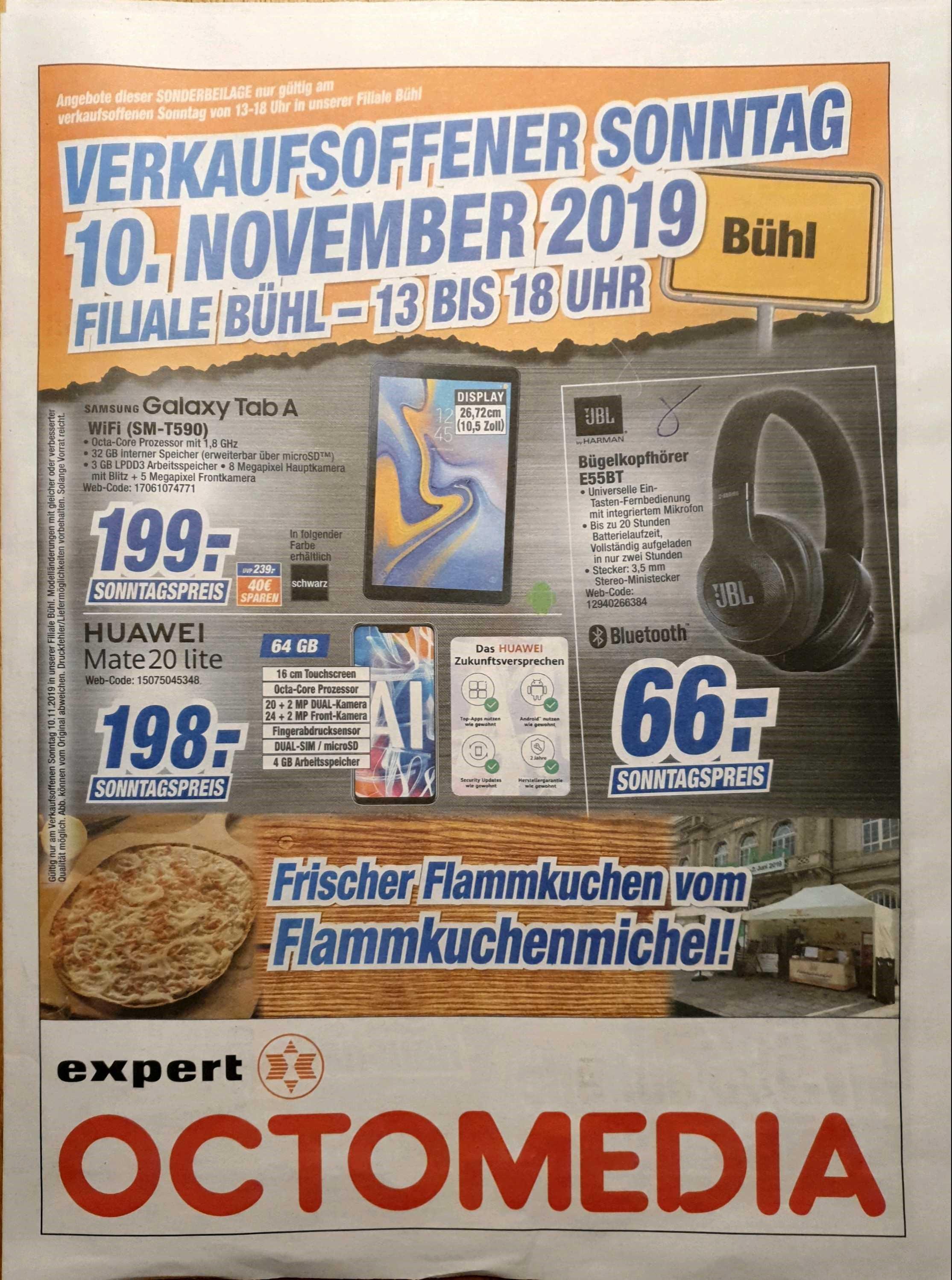 [lokal Octomedia Expert Bühl] Sammeldeal - Verkaufsoffener Sonntag 10.11.2019 ; z.B. Bosch WAT 28590 A+++ 8kg statt PVG 539 € für 444€