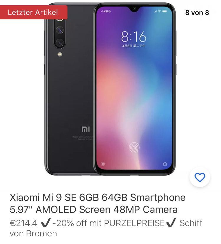 "Xiaomi Mi 9 SE 6GB 64GB Smartphone 5.97"" AMOLED Screen 48MP Camera"
