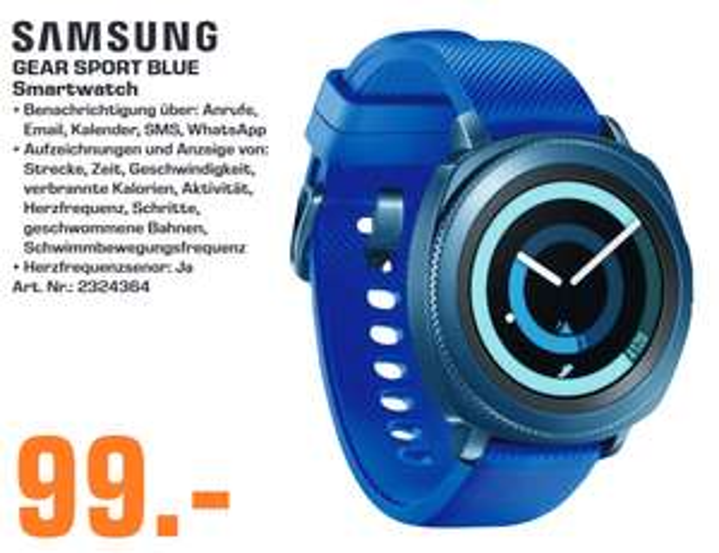 [lokal: Saturn Senden] SAMSUNG Gear Sport Smartwatch Silikon, S/L in Blau
