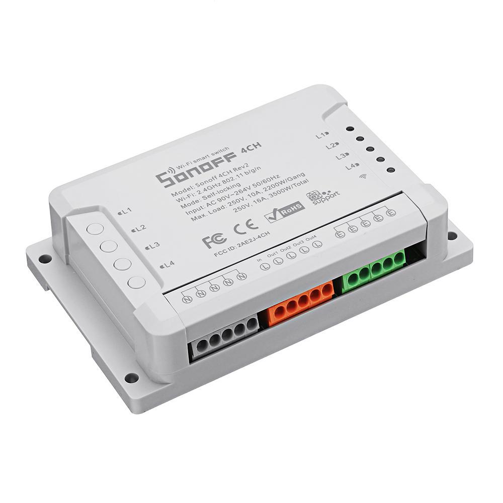SONOFF 4CH R2 10A 2200W 2.4Ghz Smart Home WIFI Wireless Switch AC 90V-250V / 5-24V DC