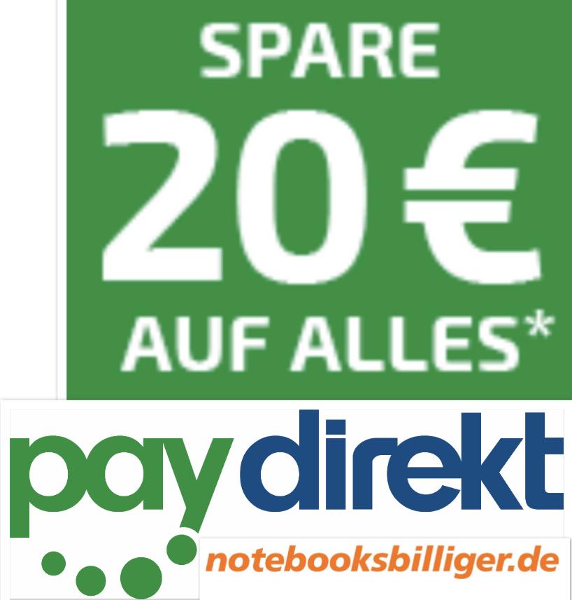 """BEENDET! - 20€ Rabatt auf ALLES (nur """"sofort ab Lager"""") + kostenfreier Versand ab 50€ mit Paydirekt - notebooksbilliger"""