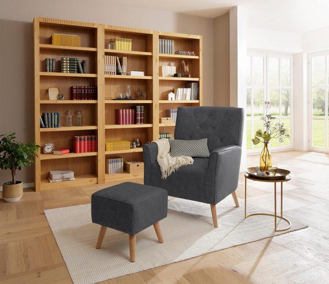 20% Rabatt auf alle Möbel von Home affaire: Sessel Michigan + Hocker in grau für 160€ statt 180€