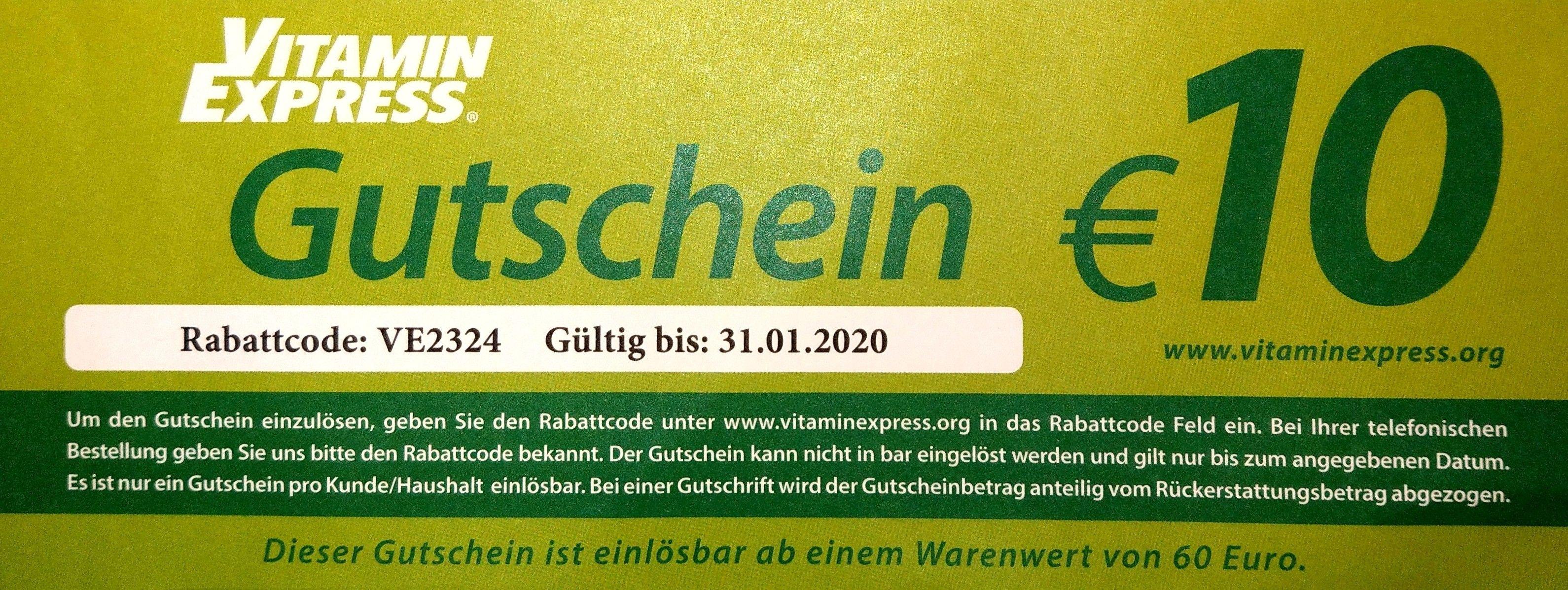 Vitamin Express (vitaminexpress.org) 10€ Gutschein (60€ MBW)
