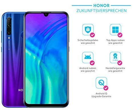 Honor 20 Lite 128 GB Smartphone BUNDLE mit 32MP Android 9.0 + gratis Flip Cover in Schwarz und Blau