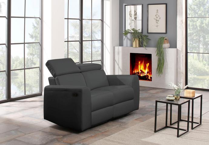 2er Relaxcouch fürs Fernsehzimmer mit el. Verstellung, Federkern und USB