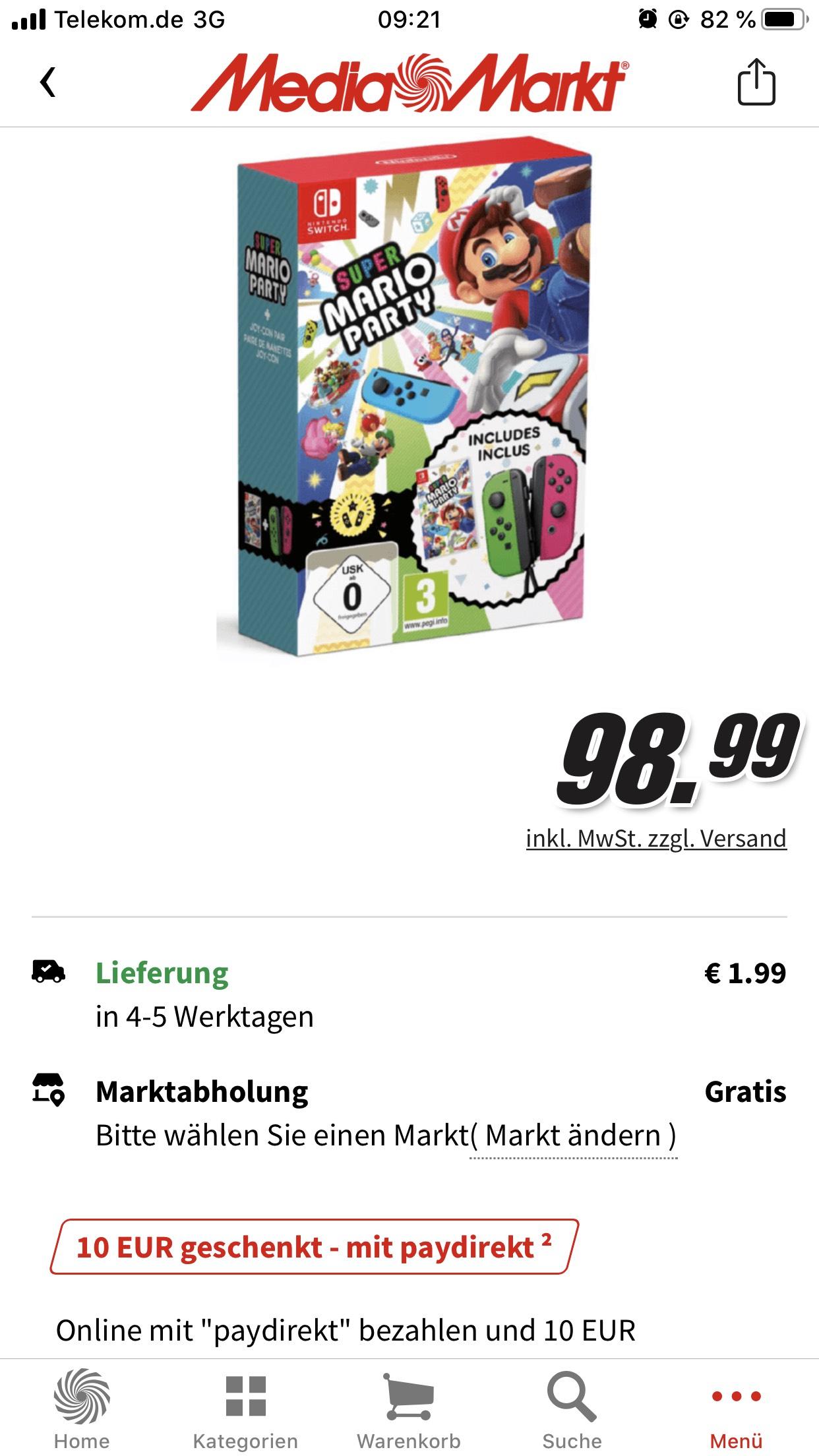 Super Mario Party + Joy-Con Set [Nintendo Switch] 10€ Paydirekt und 5€ Clubmitglied Willkommensrabatt