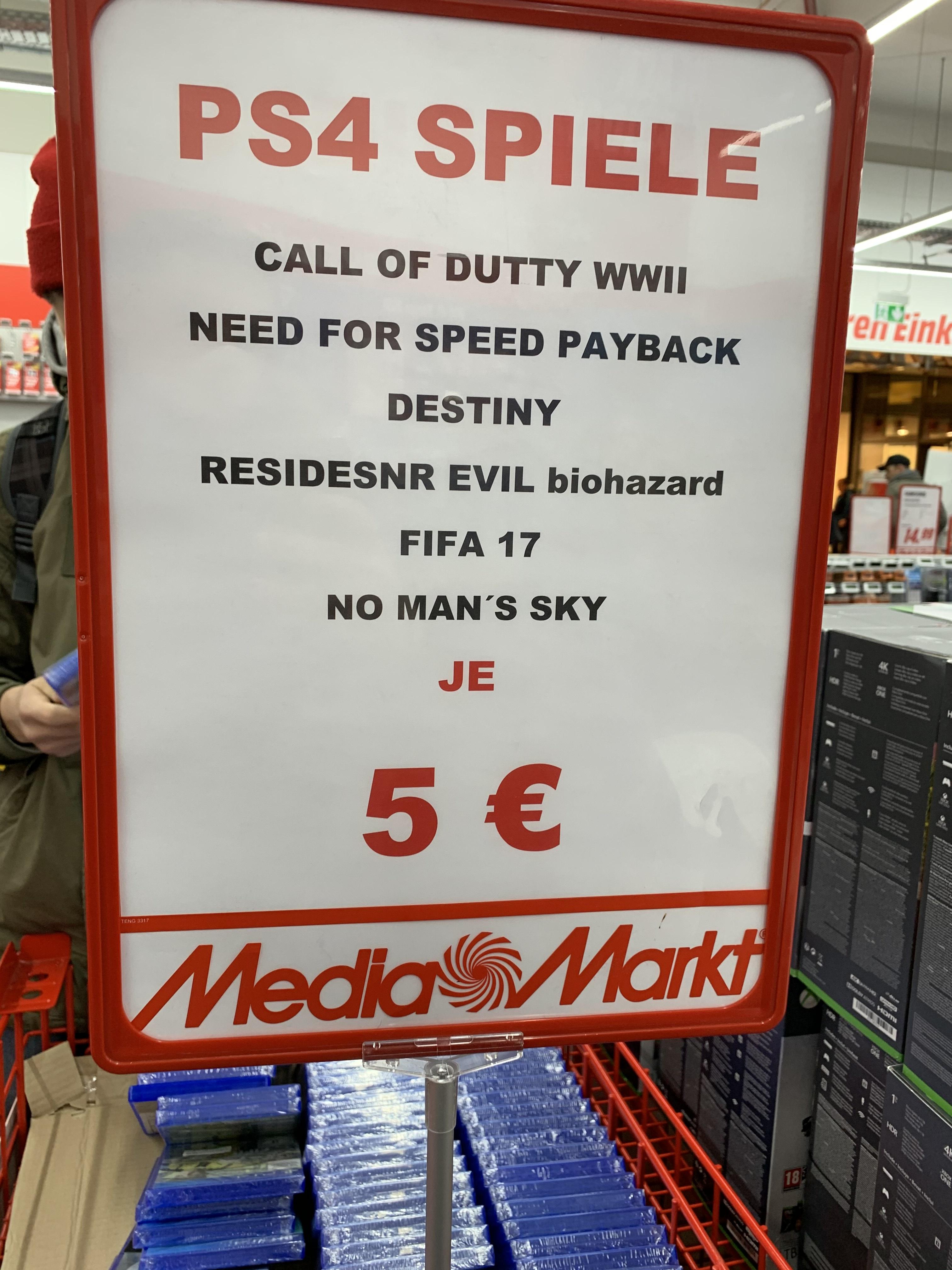 [Lokal MM Stuttgart-Bad Cannstatt] Resident Evil VII oder CoD WWII für PS4 für 5€