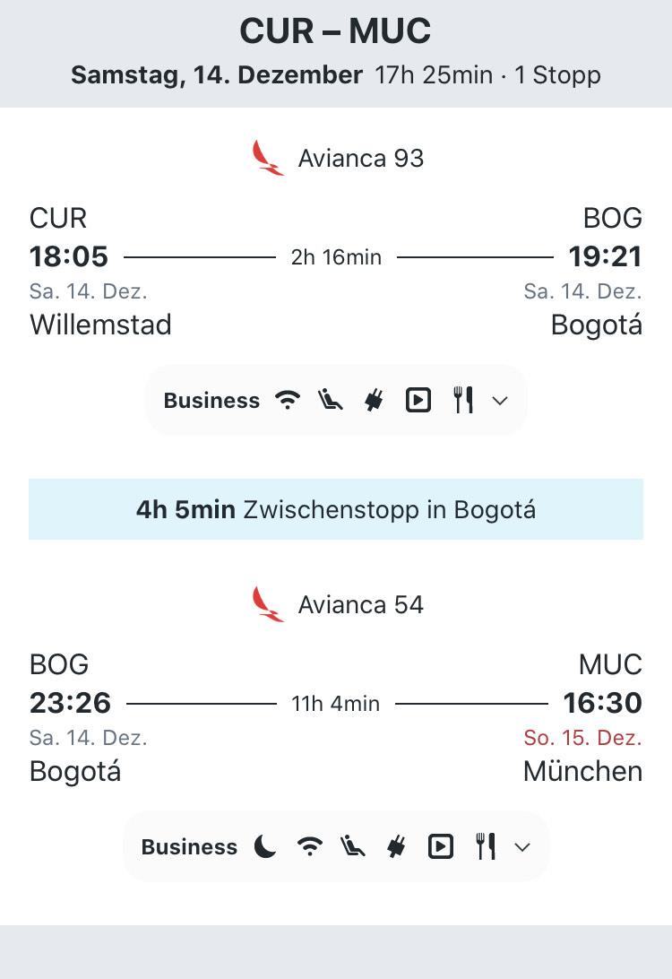 Error Fare Business Class (Curacao - München) 350€