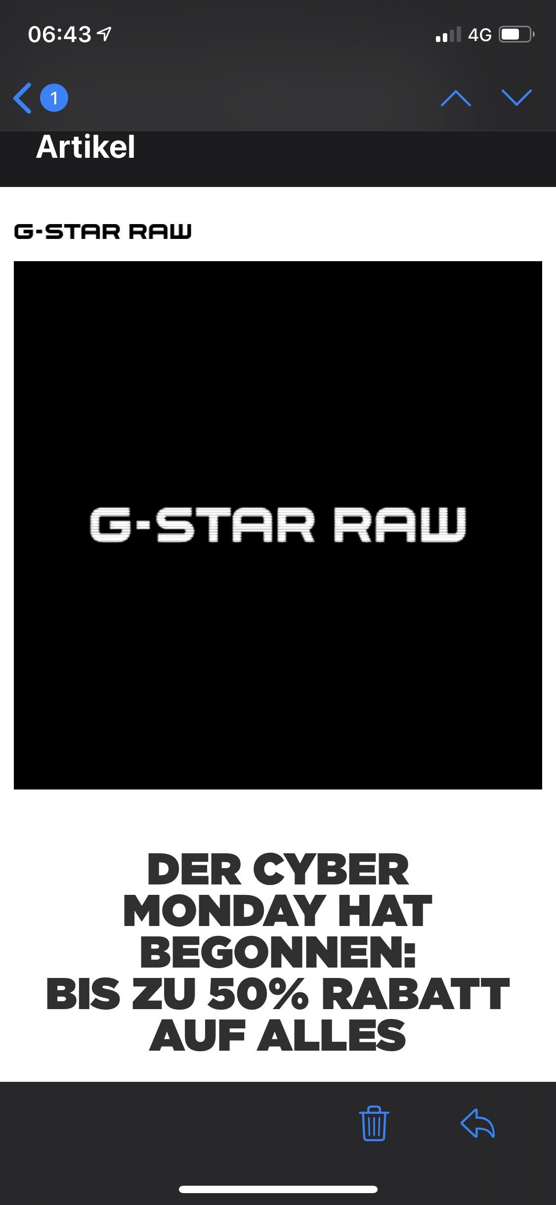 G-Star 25-50 % auf alles Cyber Monday