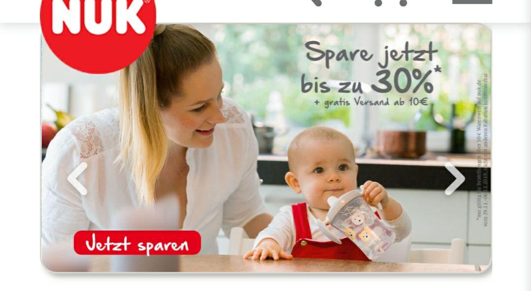 NUK bis zu 30% auf alles und ab 10 Euro Einkaufswert kostenloser Versand