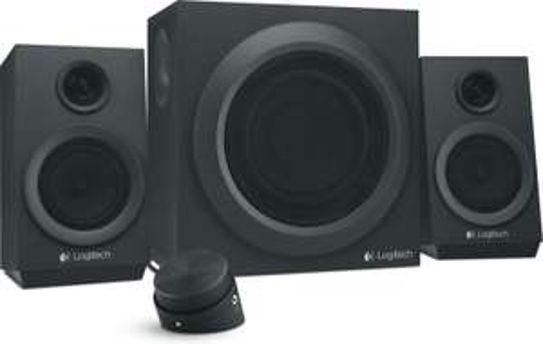 MediaMarkt Logitech Adventskalender - Tür 7: 2.1-Lautsprechersystem Logitech Z333 (2x 8W + 24W Subwoofer, Cinch-In & -Out, 3.5mm Kopfhörer)