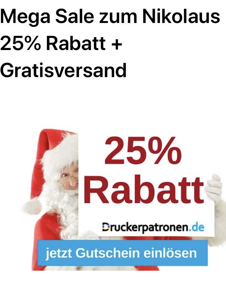 25% Rabatt bei Druckerpatronen + Gratis Versand bis 10.12.2019