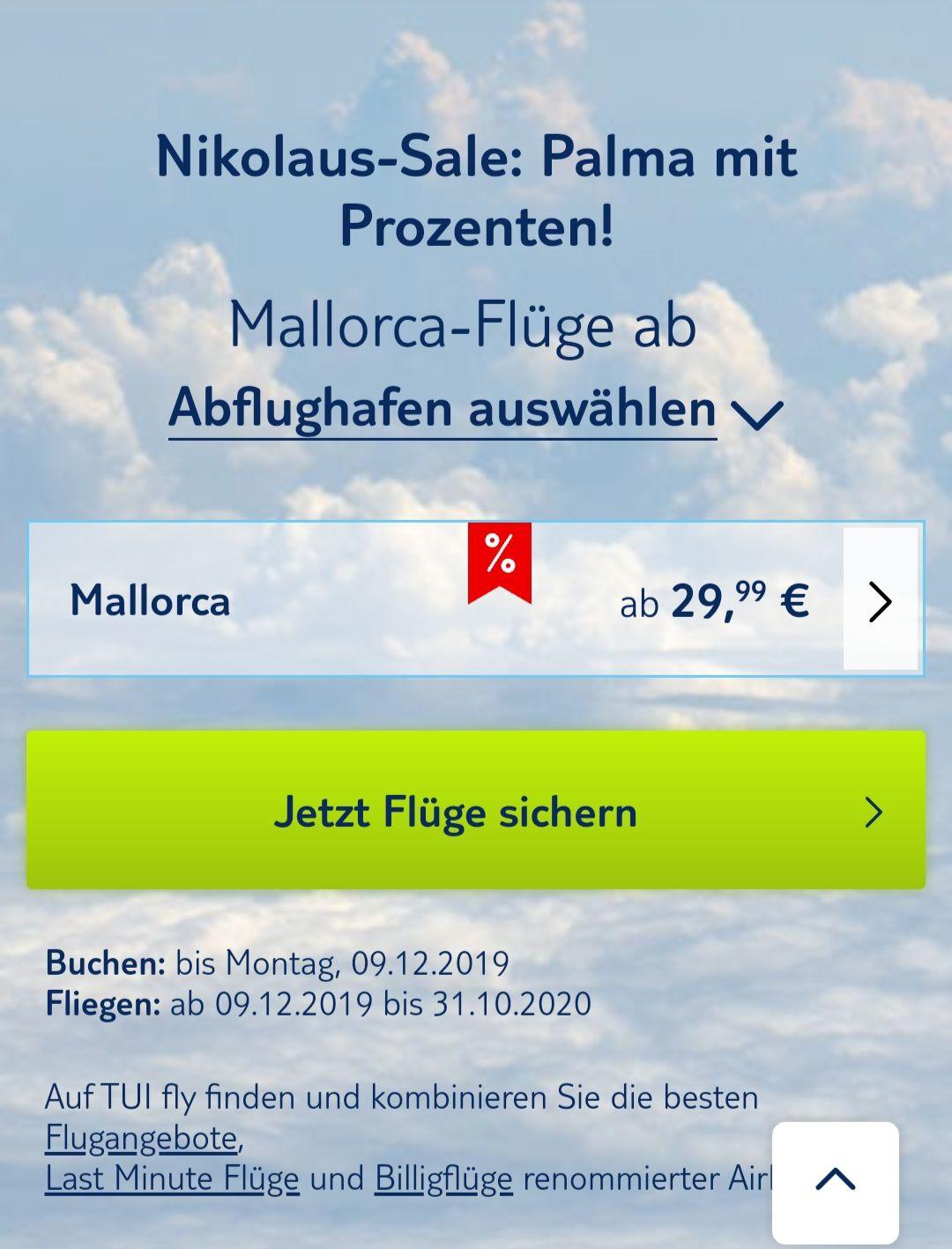 TUIfly mit Nikolaus Sale nach Mallorca