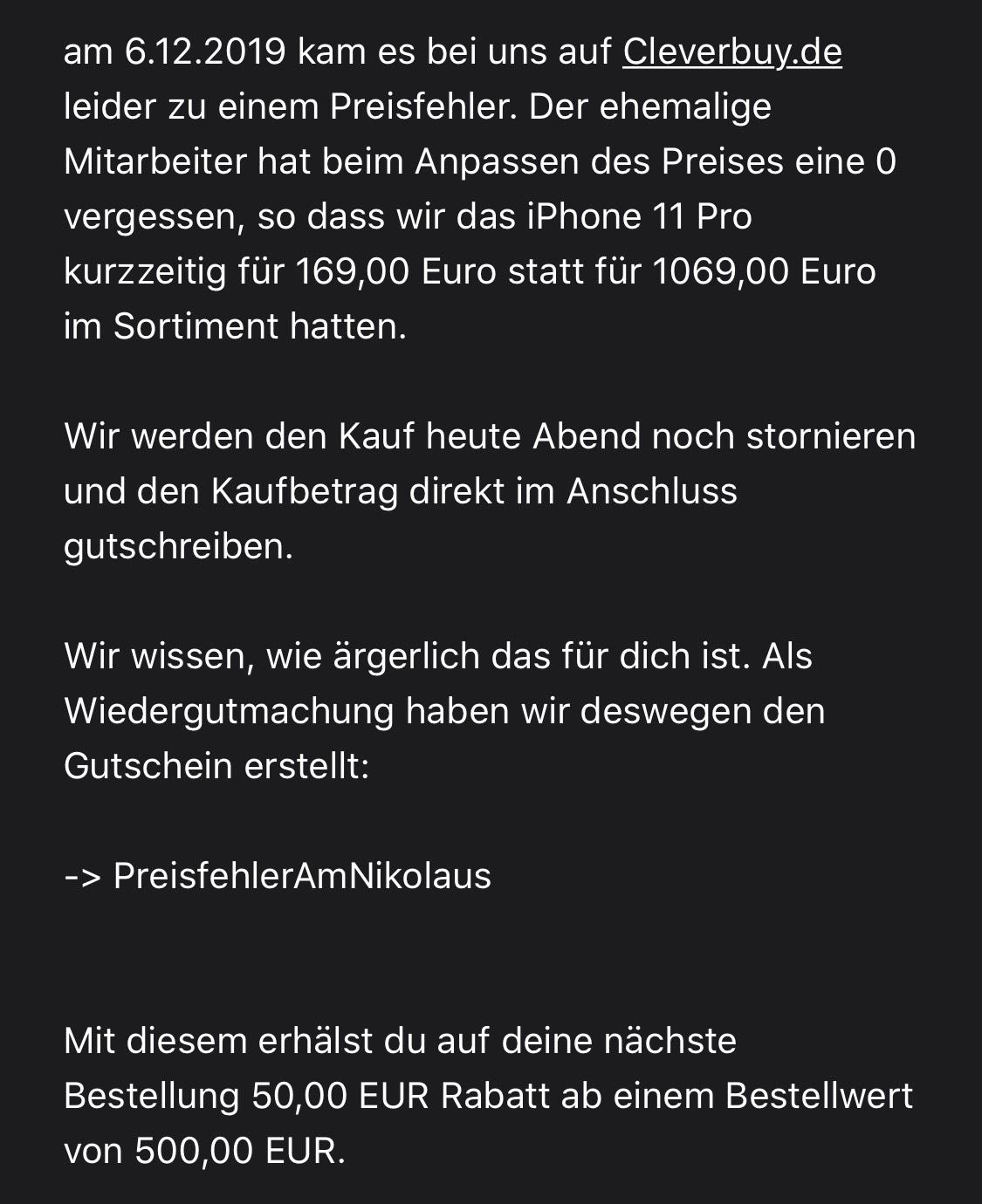 Cleverbuy.de 50€ Gutschein ab 500€ Mindestbestellwert