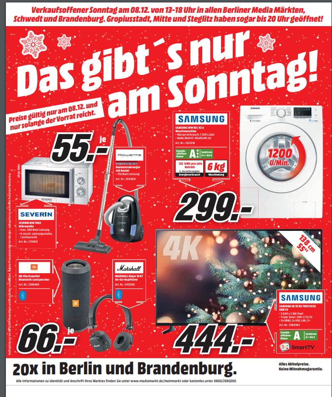 [Lokal Berlin] MediaMarkt verkaufsoffener Sonntag I Severin Mikrowelle MW 7869 55€ (102€) I SAMSUNG Waschmaschine WW 60J42A für 299€ (424€)