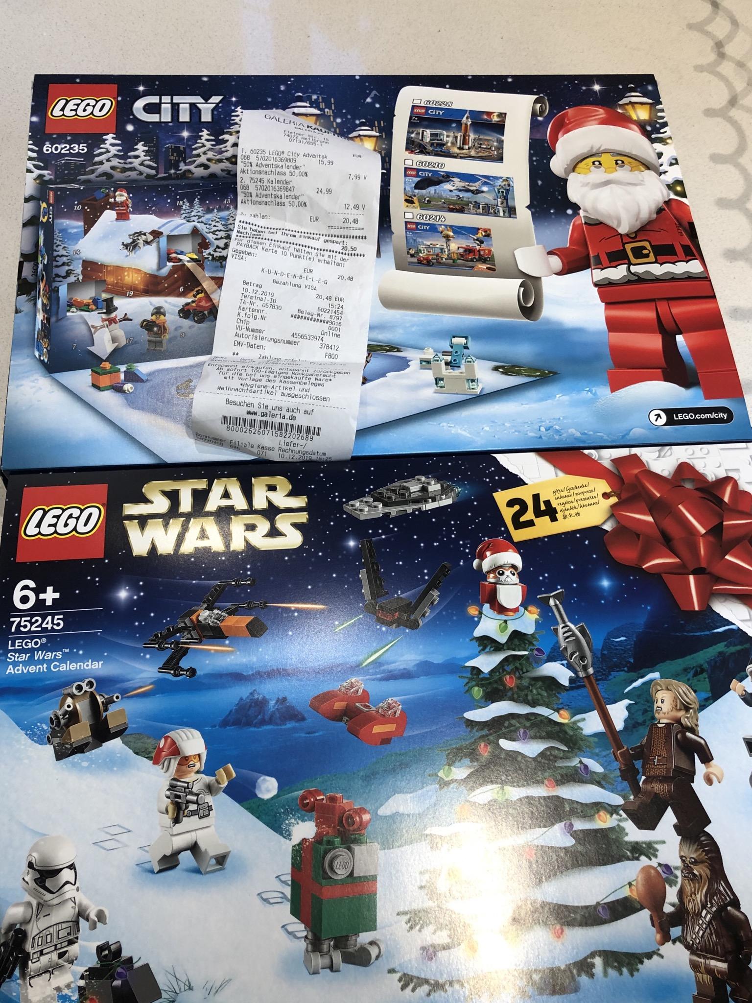 Galeria Kaufhof Lego City Adventskalender 7,99€, Star Wars 12,49€ usw