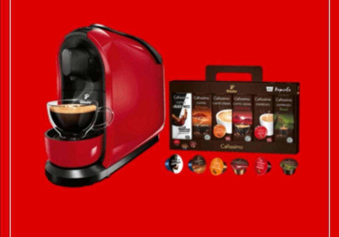 [Media Markt] TCHIBO CAFISSIMO Pure + 60 Kapseln (Espresso, Tee, Filterkaffee, Caffè Crema) Kapselmaschine Rot für 33€