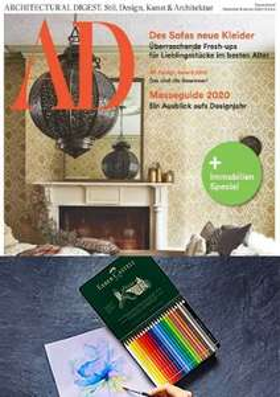 AD Architectural Digest Abo (3 Ausgaben) + KÜNSTLER AQUARELLSTIFTE (ALBRECHT DÜRER), 24ER SET (i.W.v. 30,88 €) für zusammen 16,- €