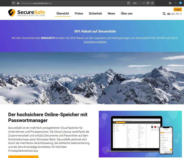 30% Rabatt auf SecureSafe - Password Manager aus der Schweiz (mit Desktop & mobilen Apps für iOS / Android, usw.)
