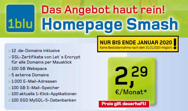 1blu-Homepage Smash mit 12 .de-Domains und 100 GB Webspace für 2,29 €/Monat dauerhaft