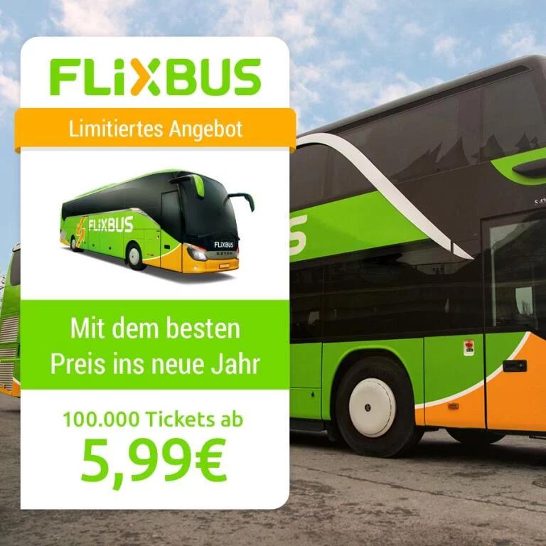 [Flixbus] 100.000 Tickets ab 5,99€ über die App bis Sonntag (Reisezeitraum vom 07.01. bis 05.02.)