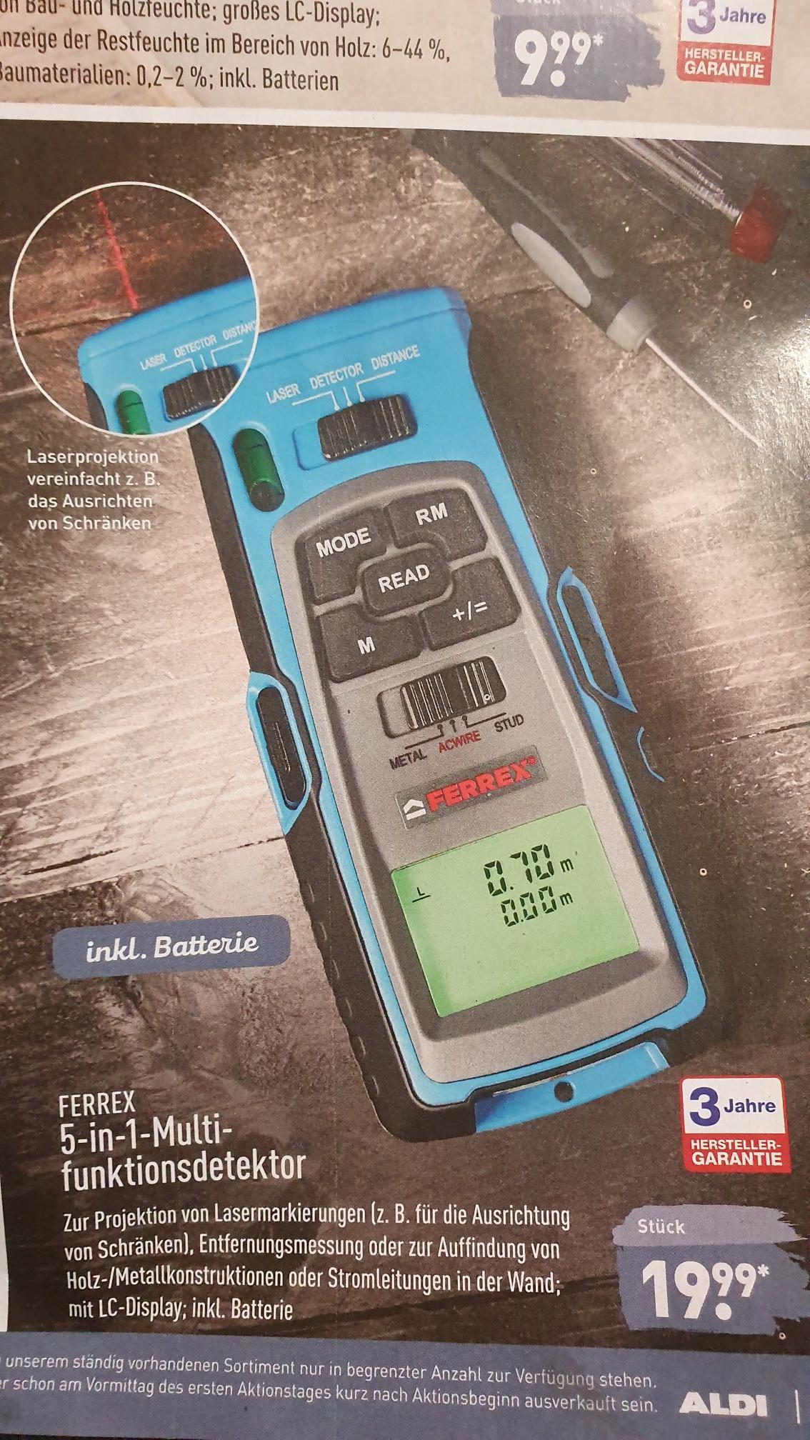 [Aldi] FERREX 5 in 1 Multifunktionsdetektor inkl. Batterie zum super Preis