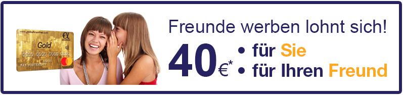 Advanzia Gebührenfrei Mastercard GOLD KWK (je 40 € für Neukunde und Werber) + 20€ Shoop