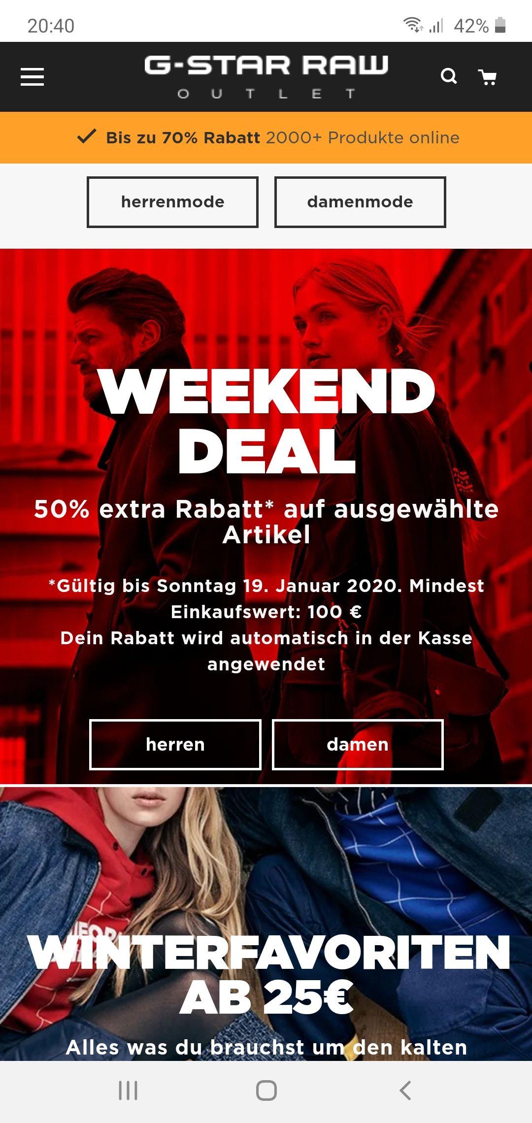 G-STAR Outlet Store 50% extra Rabatt ab 100 Euro Einkaufswert