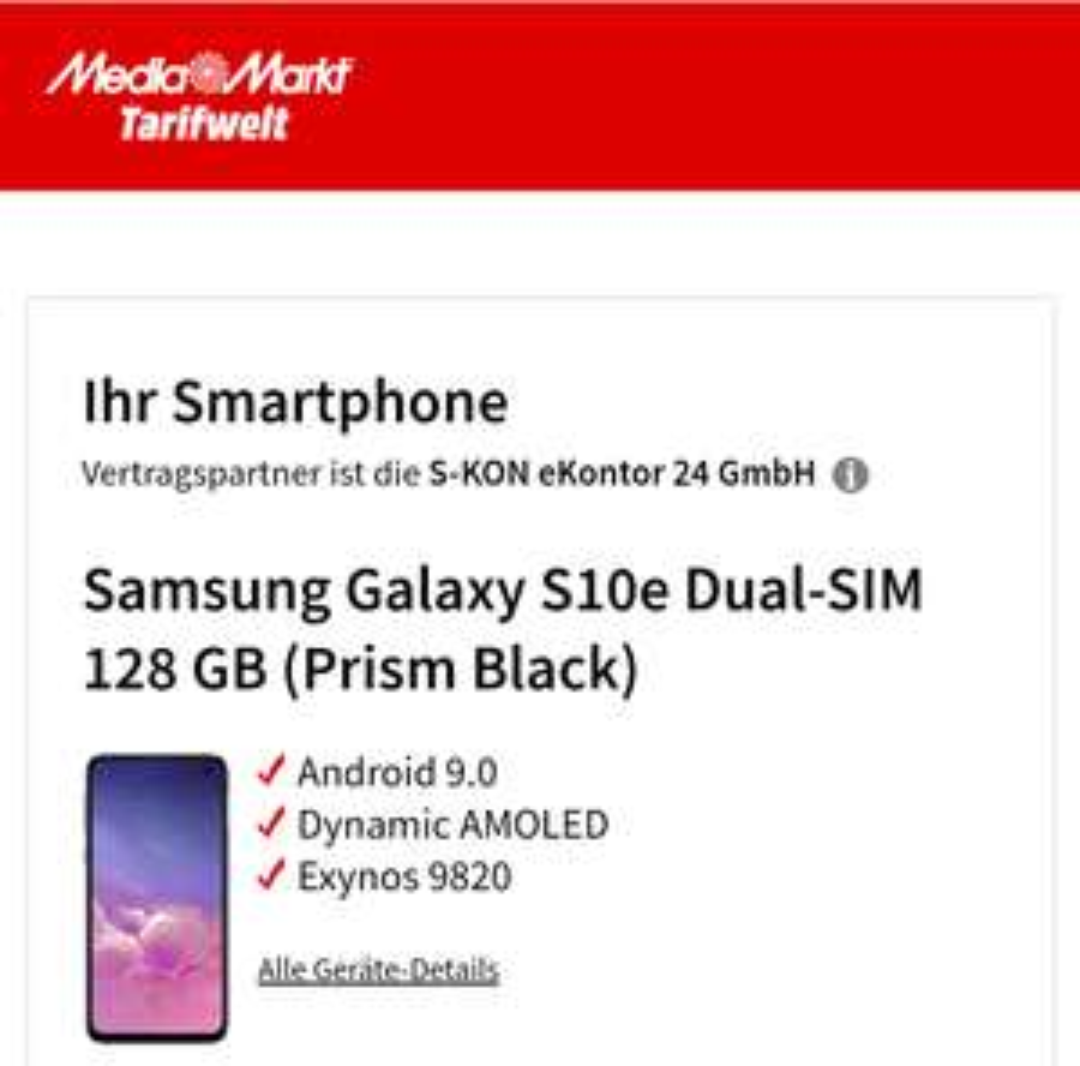 SamsungGalaxy S10e Dual-SIM128 GB(Prism Black) Allnet Flat + 6GB Lte (MD) Vodafone Netz