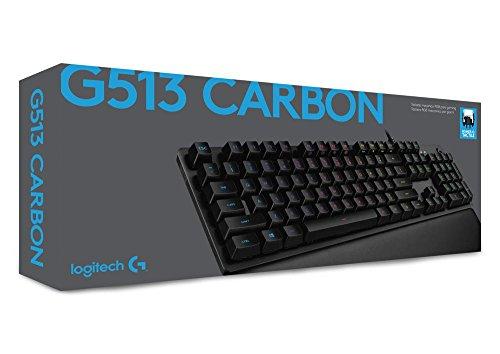 Logitech G513 mechanische Gaming-Tastatur (mit RGB Tastenbeleuchtung und Romer-G Tasten-Switches, Carbon) für 87,99€