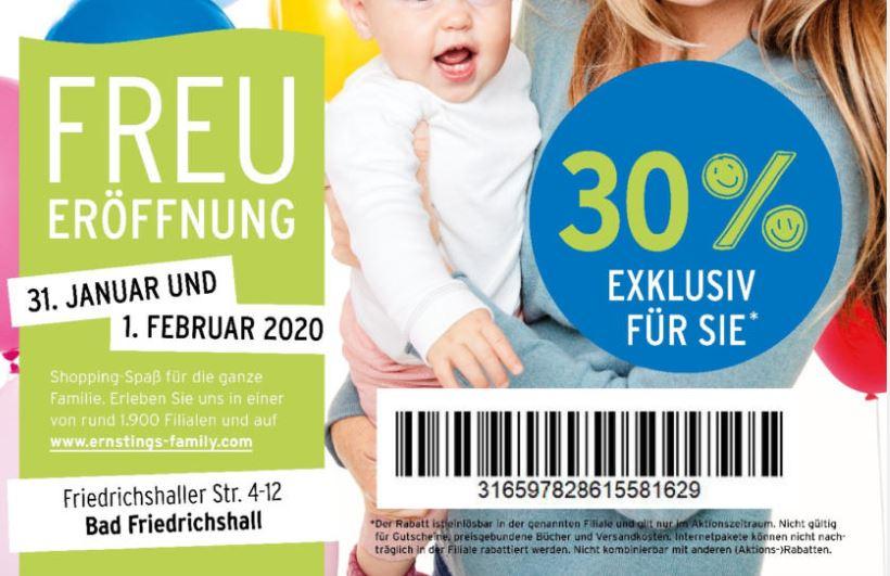 Bad Friedrichshall: 30% Rabatt bei Ernsting's auf alles wegen Neueröffnung
