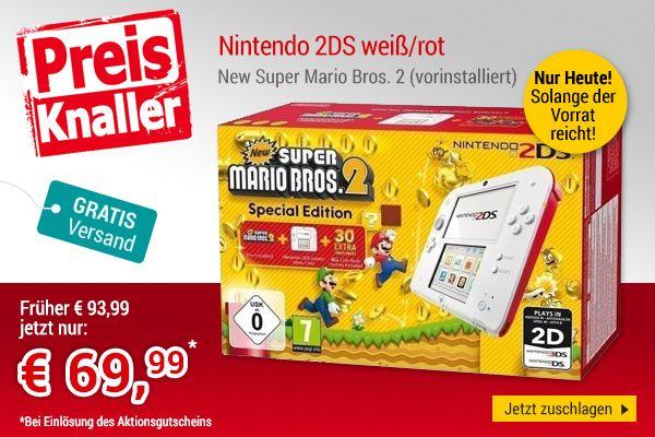Nintendo 2DS rot-weiß inkl. New Super Mario Bros. 2