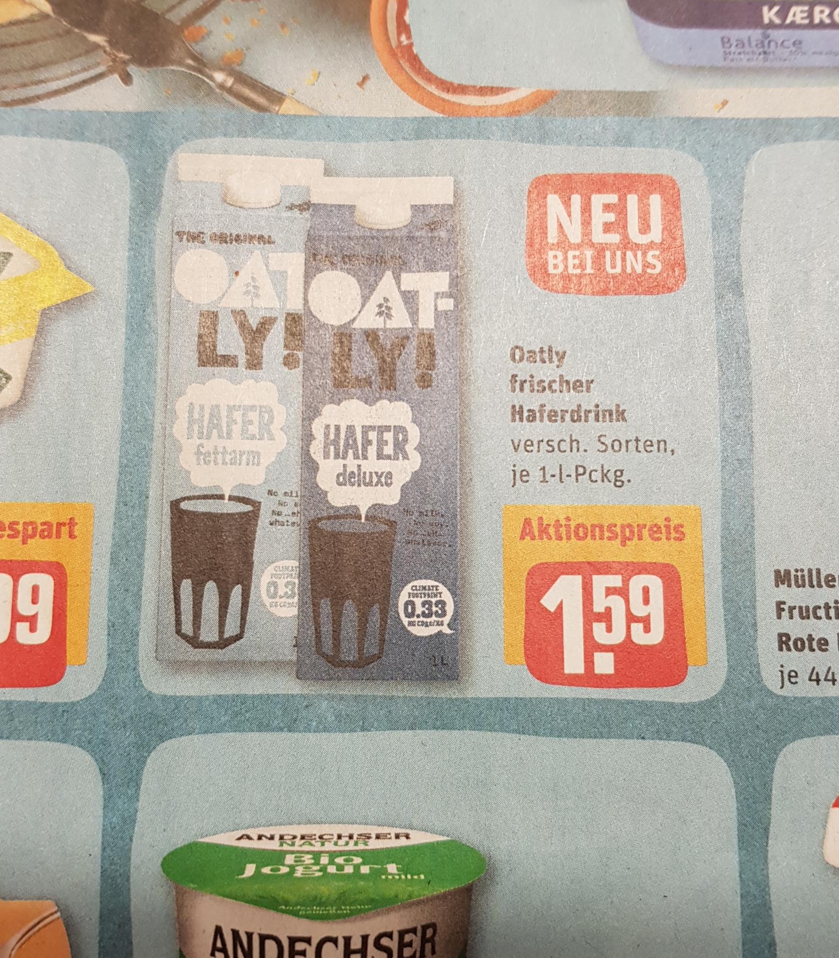 [Rewe Bundesweit] Oatly Hafermilch Vegan verschiedene Sorten für je 1,59€