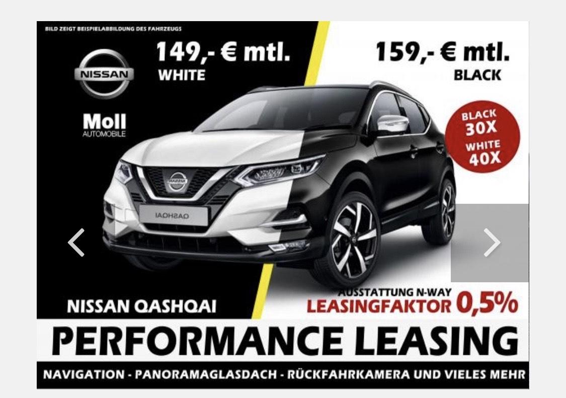 Leasingmarkt.de Privatleasing Nissan Qashqai Leasingfaktor 0,51 bei 30 Monaten und 10t km/Jahr, änderbar. 140ps Benziner