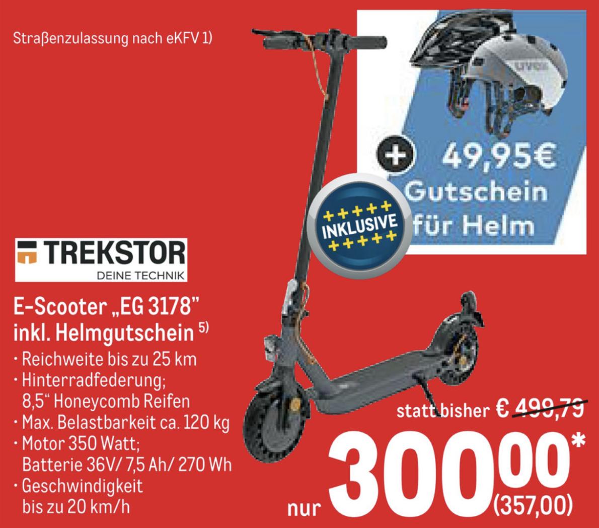 TREKSTOR EG 3178 E-Scooter mit Straßenzulassung + Gutschein für UVEX Helm für zusammen 357€ - ab 20.02. - Gewerbe o. Verein erforderlich
