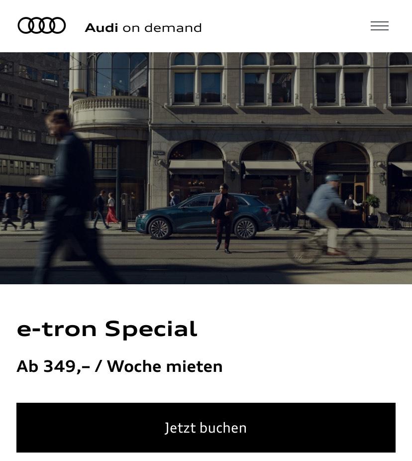 Audi e-tron mieten für 7 Tage ab 349 € inkl. kostenloser Ladekarte und ohne Kilometergrenze!