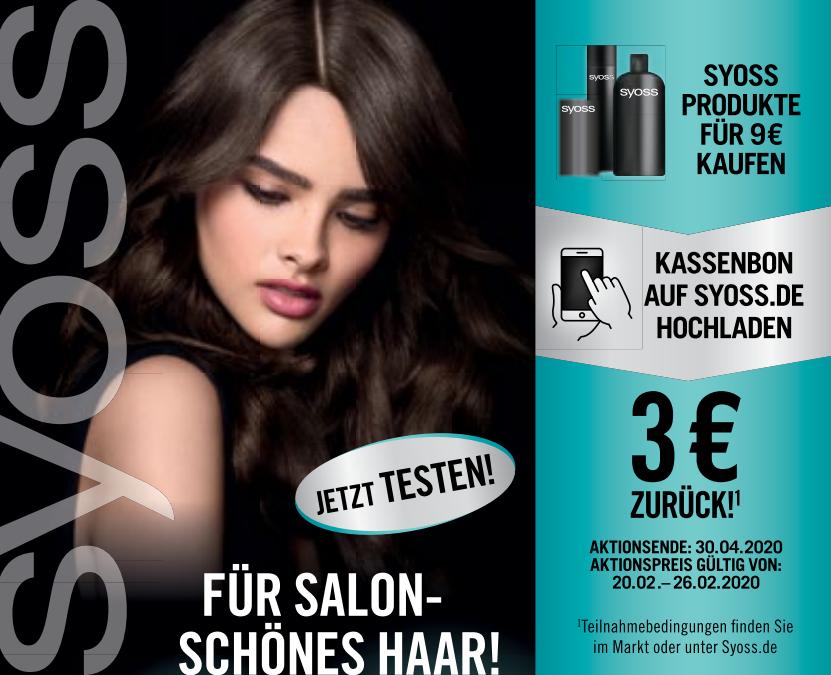 3€ Zurück für den Kauf von Syoss Produkten im Wert von mind. 9€ (20.02.-30.04.2020)
