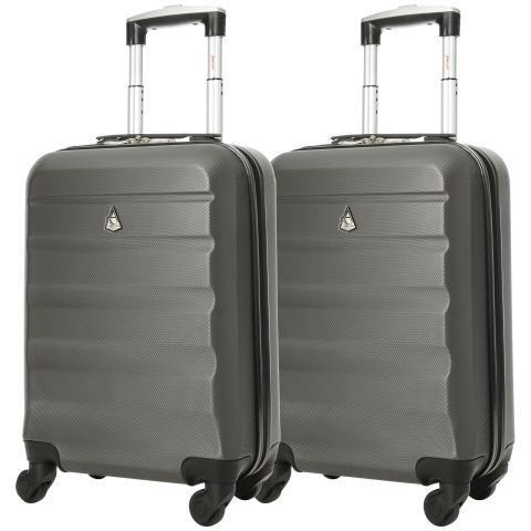 Aerolite (55x35x20cm) leichtes Hartschalen Kabinen- oder Handgepäck im 2er Set (Ryanair, easyJet usw. approved)