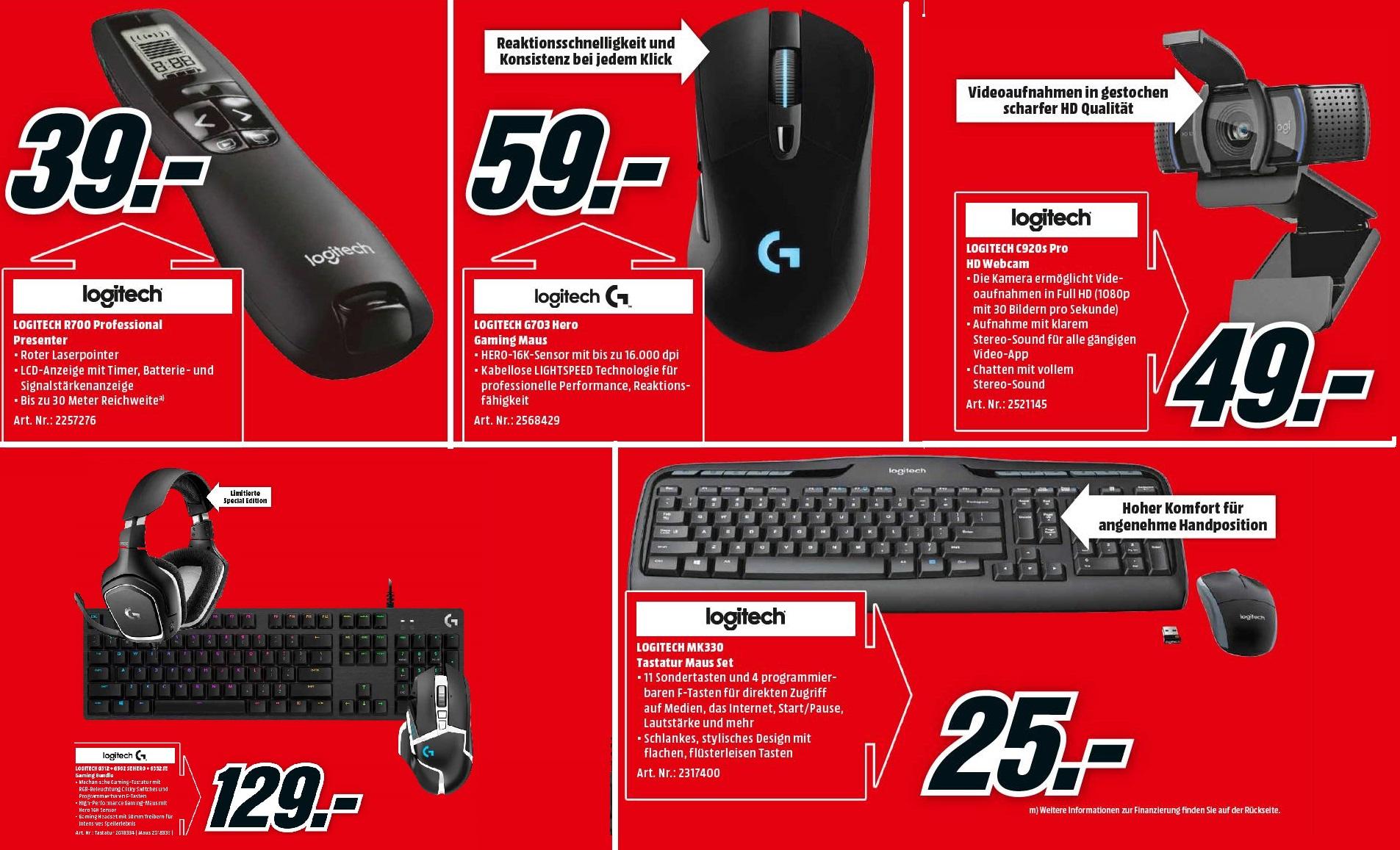 [Logitech] G703 Hero Wireless Gaming Maus =59€   R700 Presenter =39€   C920s Kamera =49€   MK330 Wireless Set =25€   G502+G332+G512 SE =129€