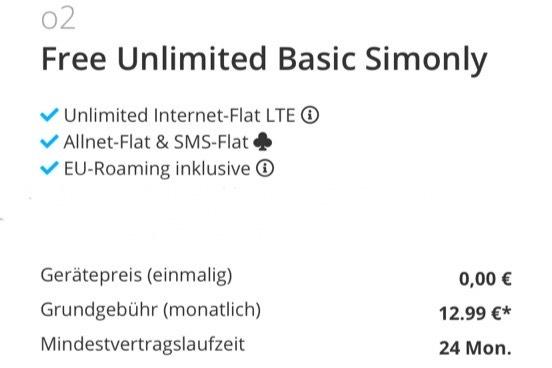 o2 Free Unlimited Basic ( Unlimited Internet mit bis zu 2 Mbit )